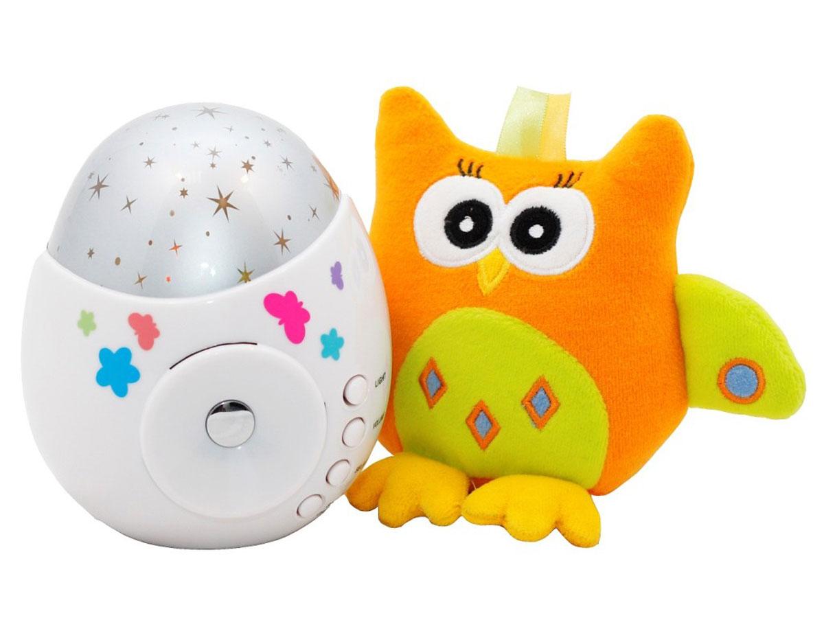 """Игрушка и ночник-проектор звездного неба """"Колибри"""".Функции проектора: проекция звездного неба, встроенные  колыбельные мелодии (10 штук), световые эффекты, контрастные звезды, 3 уровня громкости.Специальная  функция - возможность подключения к внешнему источнику звука (телефон или плеер) для проигрывания мелодий  или аудио-сказок.Помогает малышам сладко заснуть, развивает зрительное восприятие, формирует музыкальный  слух. Мягкая игрушка для малышей развивает тактильные и зрительные ощущения.Многие дети с трудом засыпают  в темноте и тишине, но и зажженный свет тревожит их не меньше. Оптимальный вариант - это ночник, который озаряет  комнату и делает ее более уютной. А игрушка-проектор звездного неба """"COLIBRI"""" с совой ROXY-KIDS - не просто  ночник, это волшебный прибор, который наполнит детскую умиротворяющими переливами света и нежными звуками  приятных колыбельных.Игрушка проецирует на стены и потолок разноцветные звездочки, при этом белый корпус  проектора мягко светится, рассеивая темноту. Проектор проигрывает десять колыбельных, поэтому звучащая фоном  музыка не надоест ни малышу, ни родителям. Три режима громкости позволяют подобрать наиболее комфортный  уровень.Проектор оснащен дополнительной функцией, которая сделает это устройство незаменимой в детской -  через специальный разъем игрушка подключается к внешним источникам звука, так что вы сможете ставить крохе  аудиосказки и любимые мелодии, не предусмотренные в программе.Очаровательная мягкая игрушка сова, идущая  в комплекте, станет лучшим другом вашего малыша. Яркая и позитивная, она не только развеселит его, но и поможет  в развитии тактильного и зрительного восприятия благодаря шуршащим элементам.  Уважаемые клиенты! Обращаем ваше внимание на то, что верх ночника изготовлен из мягкого пластика"""