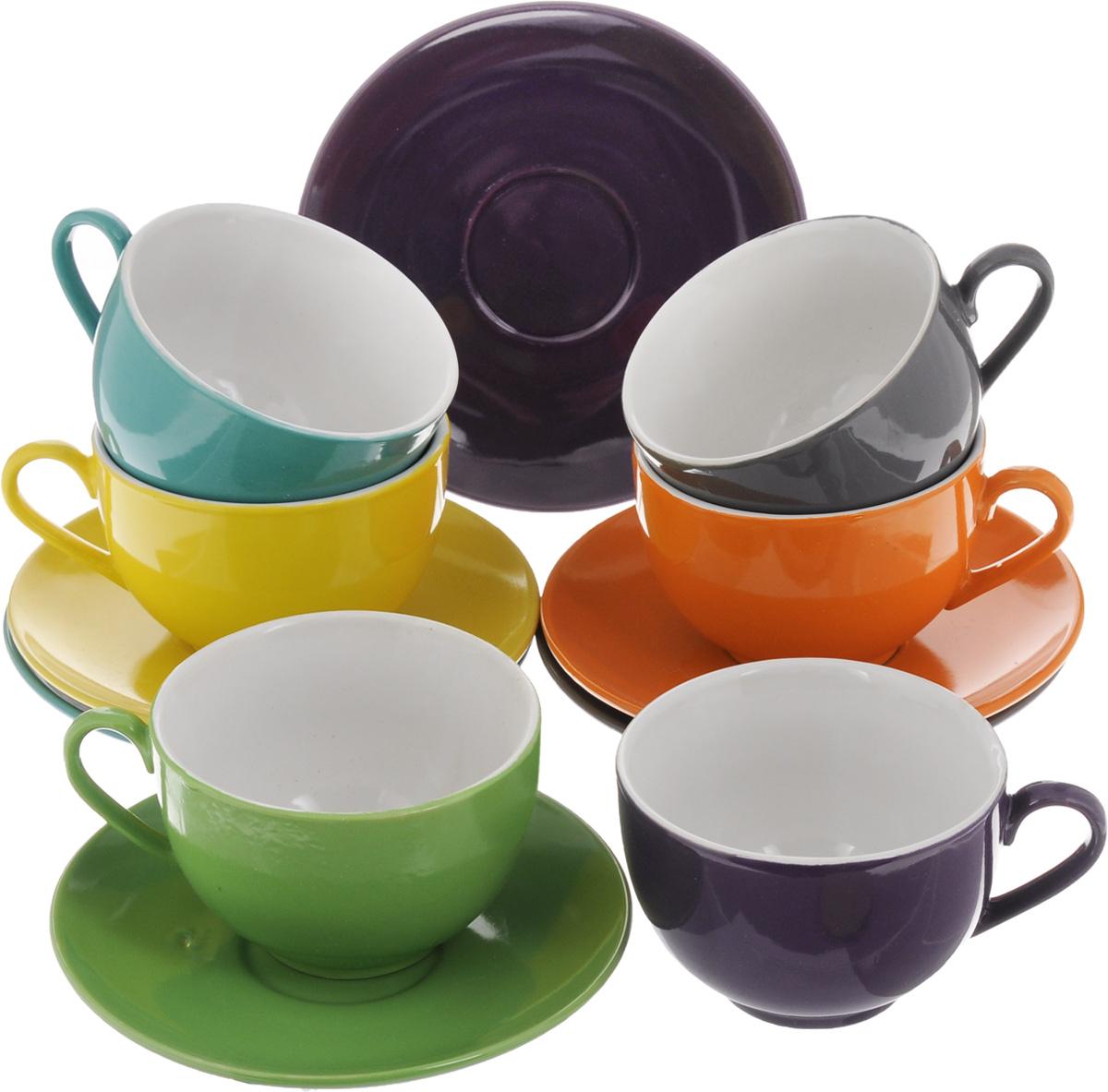 """Чайный набор """"Loraine"""" состоит из шести чашек и шести блюдец. Изделия выполнены из высококачественной керамики.  Такой набор изящно дополнит сервировку стола к чаепитию. Благодаря оригинальному дизайну и качеству исполнения, он станет замечательным подарком для ваших друзей и близких.   Объем чашки: 250 мл.  Диаметр чашки по верхнему краю: 9 см.  Высота чашки: 6,5 см.  Диаметр блюдца: 15 см. Высота блюдца: 2 см."""