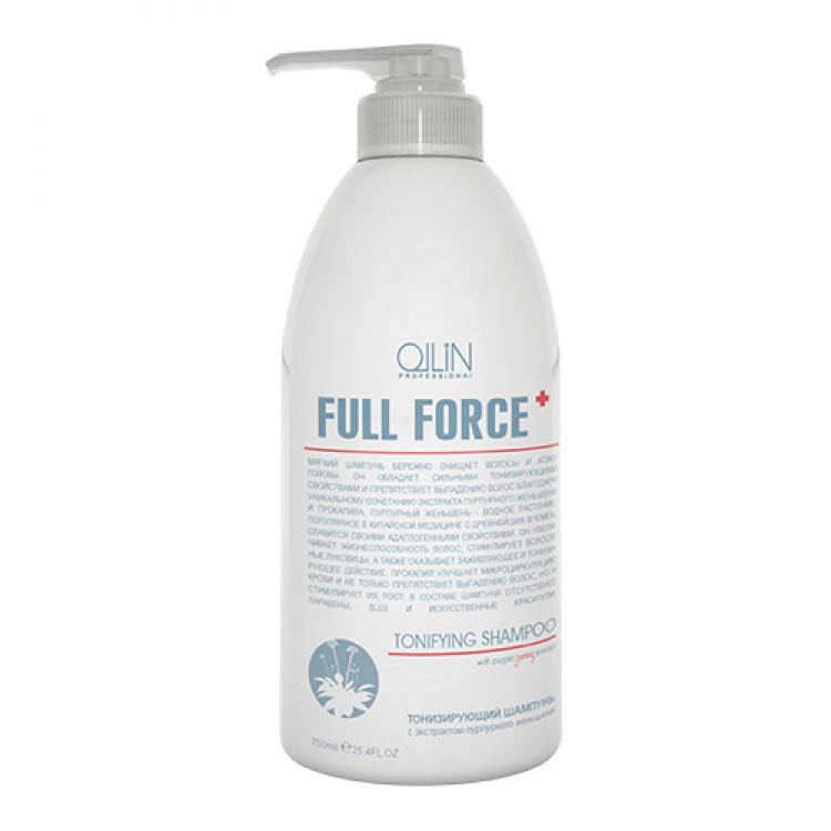 Ollin Тонизирующий шампунь с экстрактом пурпурного женьшеня Full Force Hair Growth Tonic Shampoo 750 мл725706Hair Growth Tonic Shampoo - шампунь тонизирующий с экстрактом пурпурного женьшеня. Благодаря мягкой формуле, входящей в его состав, бережно очищает волосы и кожу головы. Обладает сильными тонизирующими свойствами, улучшает микроциркуляцию крови и препятствует выпадению волос благодаря сочетанию экстракта пурпурного женьшеня, прокапила и других активных компонентов.