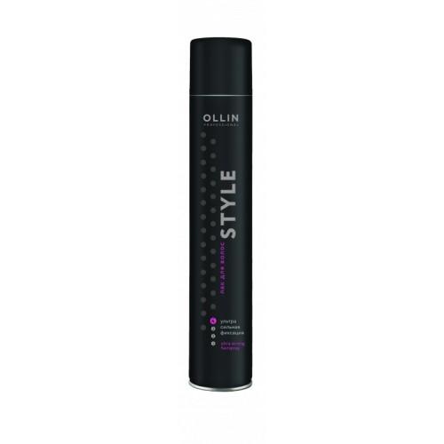 Ollin Лак для волос ультрасильной фиксации Style Ultra Strong Hairspray 400 мл766528Ollin Style Hairlaс Ultra Strong - Лак для волос ультрасильной фиксации, отлично завершит укладку, быстро сохнет. Витамины, содержащиеся в лаке, придают волосам более здоровый внешний вид. Растительные компоненты питают и увлажняют волосы, предохраняют кончики от сечения. Лак Ollin hairlaс ultra strong не заметен на волосах, легко устраняется при помощи расчески, не оставляя следов.