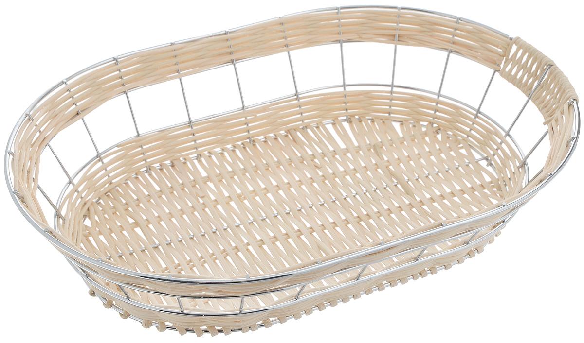 Корзина для фруктов Mayer & Boch, 34 х 24 х 7 см22330Элегантная корзина Mayer & Boch изготовлена из ротанга и высококачественного хромированного металла. Изделие идеально подойдет для красивой сервировки фруктов, хлеба и других угощений. Корзина Mayer & Boch прекрасно оформит стол и станет чудесным дополнением к вашей кухонной коллекции. Размер корзины: 34 х 24 х 7 см.