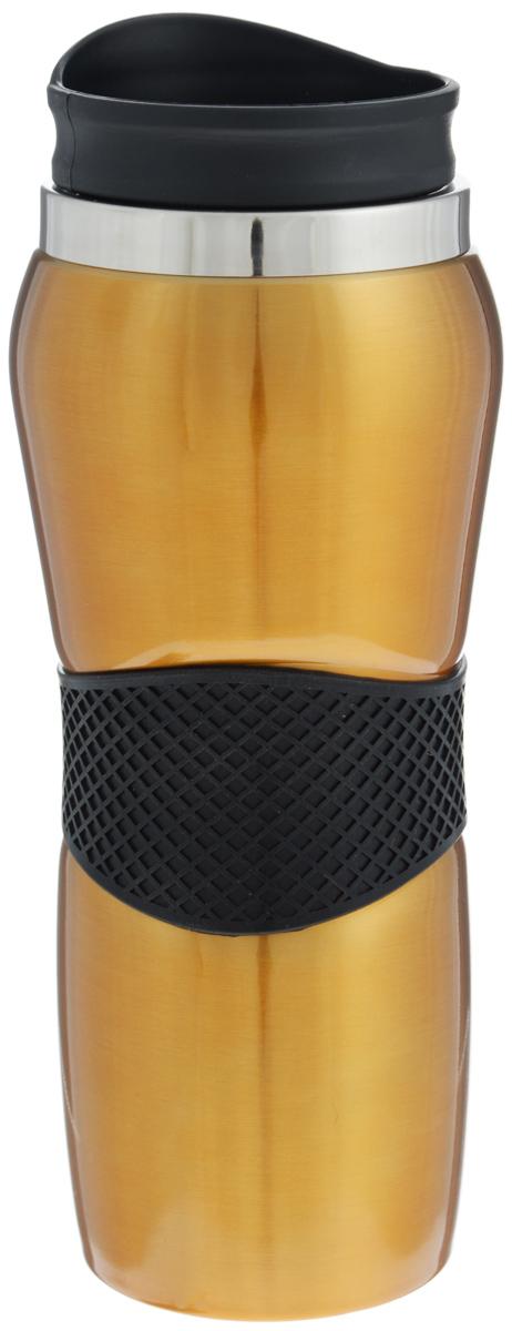 Кружка-термос Mayer & Boch, цвет: бронзовый, черный, 450 мл. 2541025410Кружка-термос Mayer & Boch выполнена из высококачественной нержавеющейстали. Изделие оснащено удобной крышкой из полипропилена с открывающимсяклапаном. На корпусе имеется резиновая вставка, для более удобного пользования.Благодаря стильному дизайну, такая термокружка порадует каждого. Высота кружки-термоса (с учетом крышки): 22,5 см. Диаметр основания кружки-термоса: 6,5 см.Диаметр горлышка: 6,5 см.