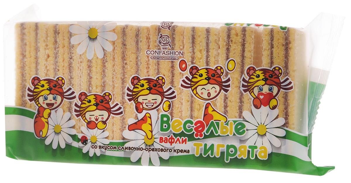 Конфэшн Веселые тигрята вафли со вкусом сливочно-орехового крема, 200 г вафли коломенское со вкусом топленого молока 220г
