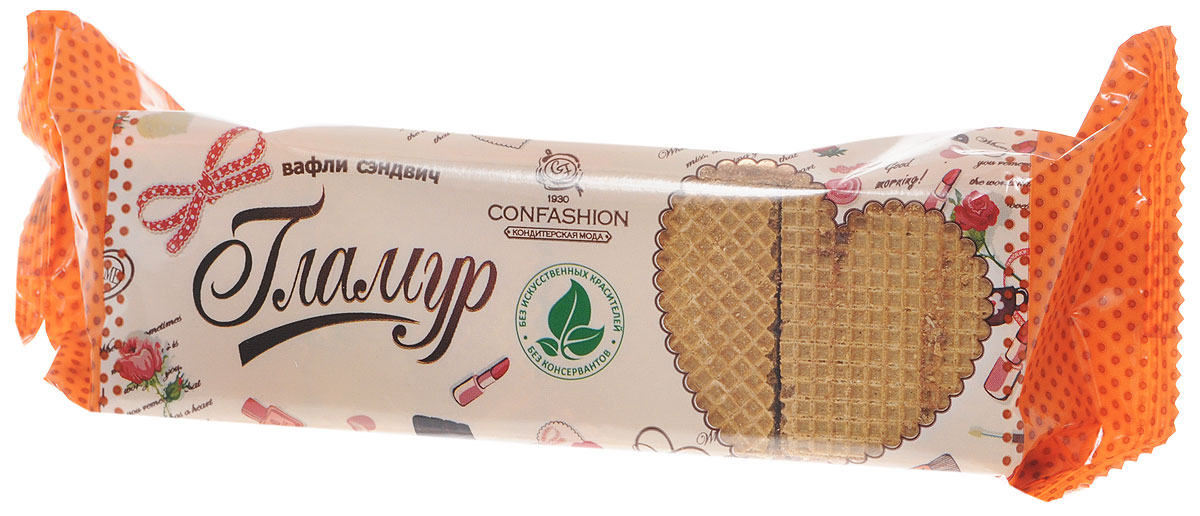 Конфэшн Гламур вафли-сэндвич со вкусом шоколада и фундука, 195 г вафли акульчев венские со вкусом взбитые сливки 140г