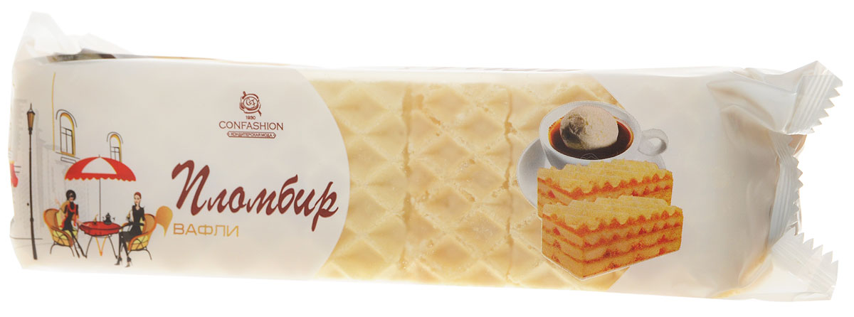 Конфэшн Пломбир вафли, 210 г4601614014269Пышный белоснежный крем имитирует мороженое пломбир, хрустящий лист с крупной насечкой подчеркивает нежность и воздушность самих вафель.