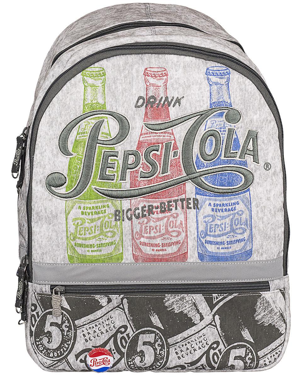 Pepsi Рюкзак Pepsi ColaPECB-UT1-392Рюкзак Pepsi Cola изготовлен из прочного материала серого цвета и оформлен рисунками бутылочек с газировкой, вышивкой и оригинальным значком в виде пробки. Рюкзак имеет два основных отделения на застежках-молниях с двумя бегунками. Первое отделение содержит накладной открытый кармашек и врезной карман на молнии. Лицевая сторона рюкзака дополнена карманом на молнии.Рюкзак оснащен петлей для подвешивания. Дно рюкзака можно сделать жестким, разложив специальную панель. Широкие регулируемые лямки и уплотненная спинка рюкзака предохранят мышцы спины ребенка от перенапряжения при длительном ношении. Светоотражающие вставки повышают безопасность ребенка на дороге.Этот рюкзак можно использовать для повседневных прогулок, учебы, отдыха и спорта, а также как элемент вашего имиджа.