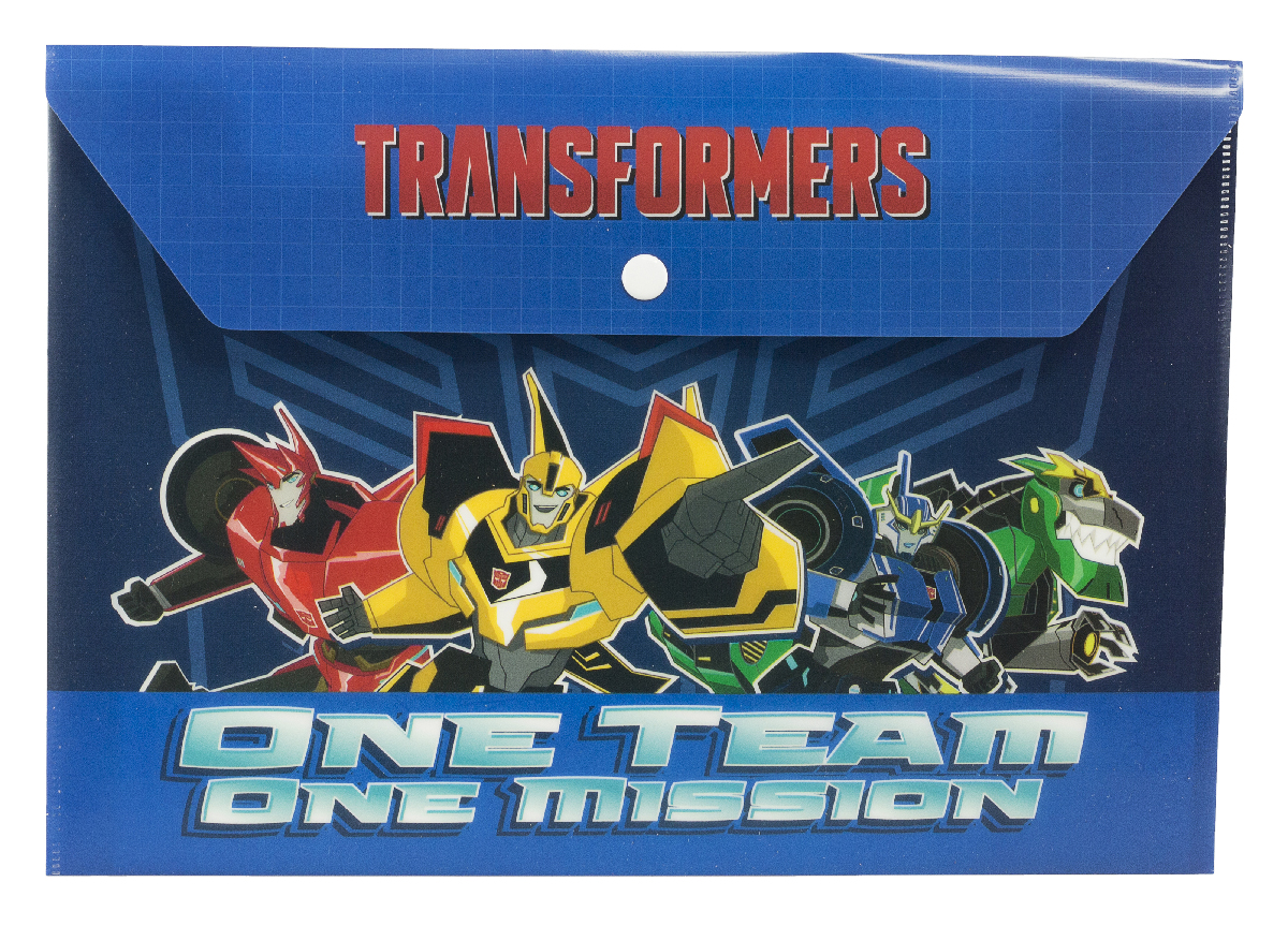 Transformers Папка-конверт One Team One MissionTRCB-US1-PLB-EN15Папка-конверт Transformers One Team, One Mission выполнена из полипропилена и предназначена для хранения рисунков и документов формата А4. Застегивается на кнопку. Оформлена папка изображением могучих трансформеров.