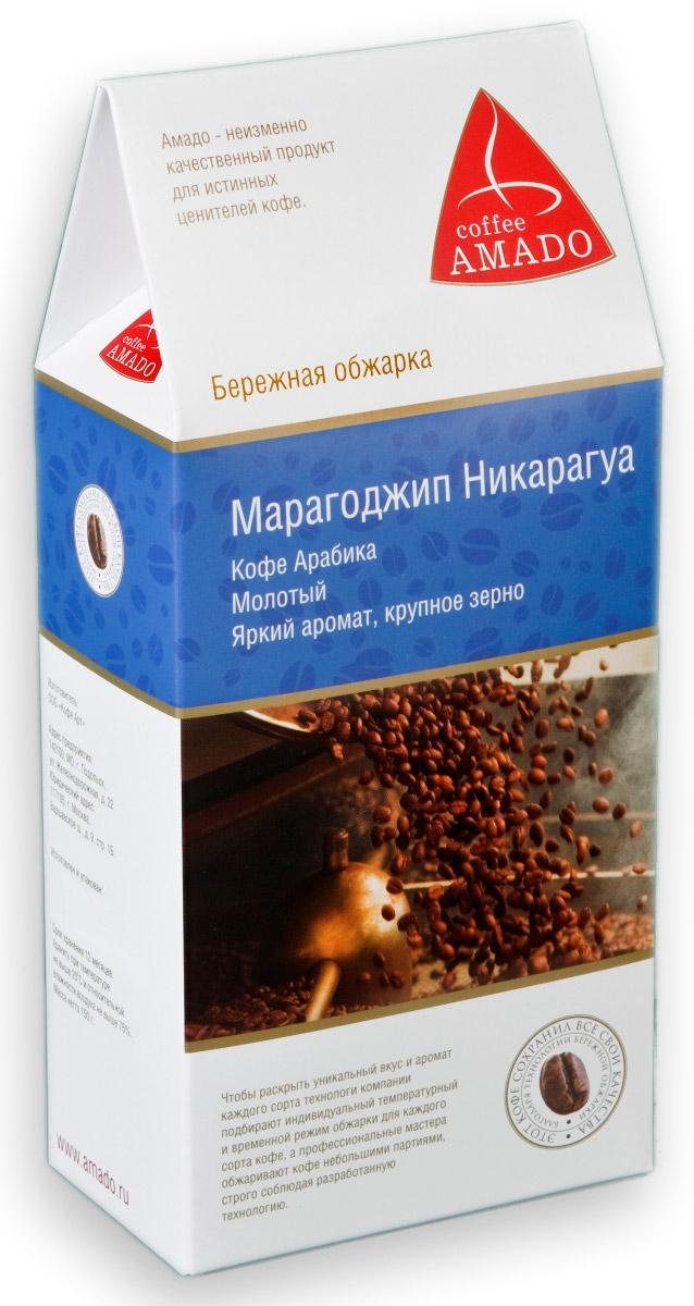 AMADO Марагоджип Никарагуа молотый кофе, 150 г4607064134250Марагоджип Никарагуа – кофе с насыщенным вкусом, в котором прослеживаются винные нотки. Ярко выражены оттенки фруктов и цветов. Кислинка мягкая, воздушная. Настой терпкий, густой. Послевкусие краткое, но отчетливое.Такой богатый вкус получается во многом благодаря правильной технологии обжарки, а также хорошей упаковке свежеобжаренного кофе.Марагоджип - это один из разновидностей арабики. Такая разновидность появилась неподалеку от города Марагоджип, который находится в бразильском штате Байа. На деревьях этого сорта кофе растут самые крупные зерна, которые не сравнить с любыми другими!Рекомендуемый способ приготовления: по-восточному, френч-пресс, гейзерная кофеварка, фильтркофеварка, кемекс, аэропресс.