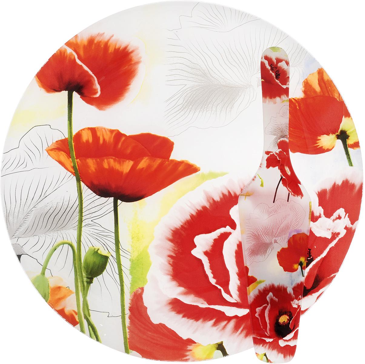 Блюдо для торта Loraine, с лопаткой, диаметр 30 см. 23901553-200Блюдо для торта Loraine выполнено из стекла с оригинальным изображением маков. Посуда обладает гладкой непористой поверхностью и не впитывает запахи, ее легко и просто мыть. Изящный дизайн и красочность оформления придутся по вкусу и ценителям классики, и тем, кто предпочитает утонченность и изысканность. В комплекте также предусмотрена лопатка.Такой набор послужит отличным подарком к любому празднику, а также добавит элегантности любому праздничному столу.Размер лопатки: 26 х 6 х 3 см.