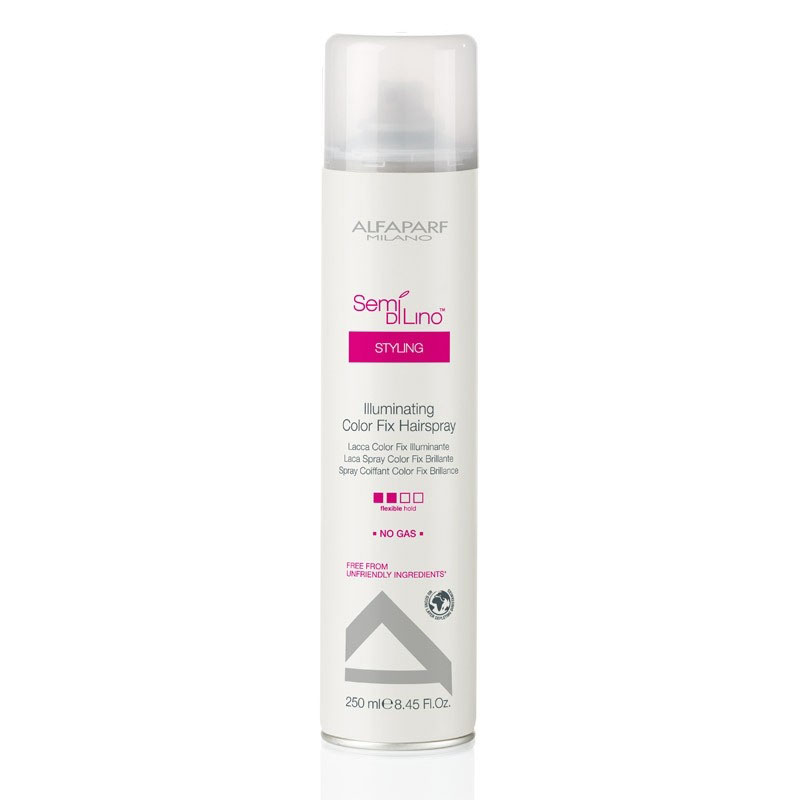 Alfaparf Лак для стойкости цвета, придающий блеск Semi Di Lino Illuminating Color Fix Hair Spray 250 мл alfaparf разглаживающий шампунь для непослушных волос semi di lino discipline frizz control shampoo 250 мл