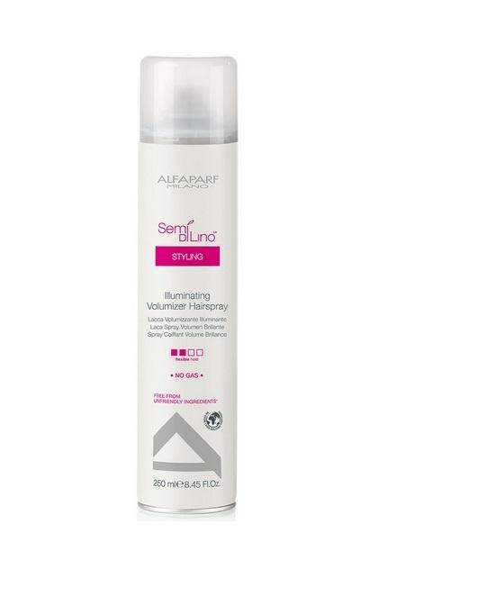 Alfaparf Лак для создания объема, придающий блеск Semi Di Lino Illuminating Volumizer Hair Spray 250 мл73Alfaparf Semi DiLino Illuminating Volumizer Hair Spray Лак для создания объёма, придающий блеск разработан специально для создания впечатляющей объёмной причёски с эффектом блеска. Лак содержит микрокристаллы, которые не только делают волосы блестящими, сохраняя их цвет, но и способствуют созданию надёжной защиты причёски от всех негативных влияний окружающей среды. Специальные компоненты, входящие в состав лака Альфапарф SDL Illuminating Volumizer придают волосам удивительный блеск, делая их красивым и привлекательными, а также мягкими, облегчая процесс расчёсывания. Данное средство не содержит в составе таких вредных веществ, как парафины, сульфаты, аллергены и минеральных масел.Альфапарф Semi Di Lino Illuminating Volumizer Hair Spray подходит для всех типов волос.Степень фиксации: средняя фиксация.