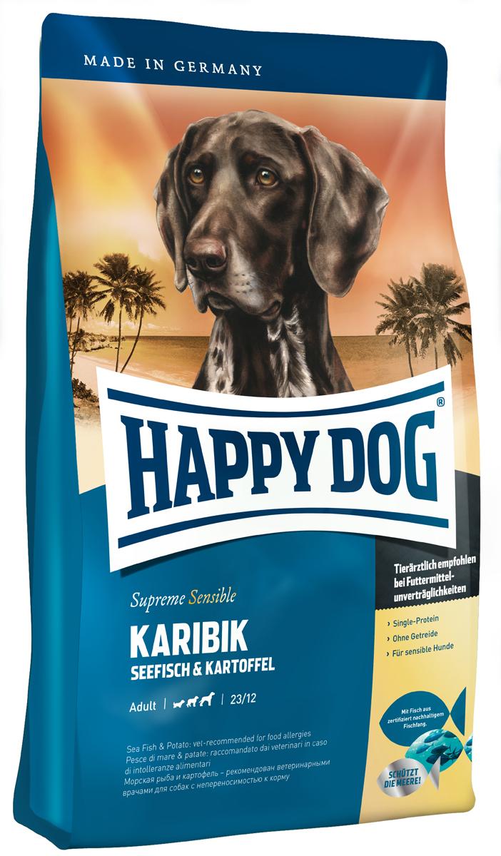 Корм сухой Happy Dog Карибик для взрослых собак, с морской рыбой, 4 кг03522Happy Dog Карибик - это лакомство для гурманов, не содержащее злаков и изготовленное из эксклюзивного сырья с опорой на изысканные рецепты карибской кухни. Вашу собаку порадует благородная морская рыба, полученная из экологичного промысла, и легко усваиваемый картофель. Разумеется, этот щадящий корм не содержит глютена. Благодаря особому, уникальному источнику белка - морской рыбе, содержащей умеренное количество белков и калорий, - эта вкусная рецептура не создает нагрузки на пищеварение и прекрасно переносится собаками всех пород, даже чувствительными к корму. Тропическое лакомство дополняют ценные Омега-3 и Омега-6 жирные кислоты, которые гарантируют здоровую кожу и блестящую шерсть.Состав: картофельные хлопья (48%), морская рыба (18%), картофель, масло из семян подсолнечника, свекольная пульпа, гидролизат печени, рапсовое масло, яблочная пульпа (0,8%), морская соль, дрожжи (экстрагированные), юкка шидигера.Аналитический состав: сырой протеин 23%, сырой жир 12%, сырая клетчатка 3%, сырая зола 7%, кальций 1,4%, фосфор 1%, натрий 0,35%, Омега-6 жирные кислоты 2,8%, Омега-3 жирные кислоты 0,35%.Витамины/кг: витамин А 12000 М.E., витамин D3 1200 М.E., витамин Е 75 мг, витамин В1 4 мг, витамин В2 6 мг, витамин В6 4 мг, биотин 575 мкг, кальций D-пантотенат 10 мг, ниацин 40 мг, витамин В12 70 мкг, холинхлорид. Микроэлементы/кг: железо 60 мг, медь 105 мг, цинк 12 мг, марганец 125 мг, йод 25 мг, селен 2 мг.Товар сертифицирован.Расстройства пищеварения у собак: кто виноват и что делать. Статья OZON Гид