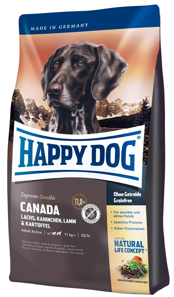 Корм сухой Happy Dog Канада для собак средних и крупных пород, лосось, кролик, ягненок, 12,5 кг03557Корм Happy Dog Канада, не содержащий злаков, оптимально подходит для чувствительных собак. Корм разработан для собак с повышенной потребностью в энергии. Он прекрасно подходит так же для молодых собак начиная с 6 месяца жизни. Исключительно вкусный полнорационный корм содержит мясо лосося, кролика и ягненка, а также картофель, не содержащий глютен. Состав: картофельные хлопья (47%), лосось (10%), белок из мяса кролика (10%), белок из мяса ягненка(10%), птичий жир, картофельный белок, свекольная пульпа, гидролизат печени, масло из семян подсолнечника (1,5%), яблочная пульпа (1,0%), клетчатка, сухое цельное яйцо, рапсовое масло (0,5%), семя льна (0,4%), хлорид натрия дрожжи, хлорид калия, клюква (0,22%),морские водоросли (0,15%), мясо моллюска (0,04%), Юкка Шидигера (0,02%), расторопша, артишок, одуванчик, имбирь, березовый лист, крапива, ромашка, кориандр, розмарин, шалфей, корень солодки, тимьян, дрожжи (экстрагированные), (общий объем трав: 0,15%).Аналитический состав: сырой протеин 25,0%, сырой жир 14,0%, сырая клетчатка 3,0%, сырая зола 7,5%, кальций 1,45%, фосфор 0,95%, натрий 0,45%, Омега-6 жирные кислоты 2,8%, Омега-3 жирные кислоты 0,5%.Витамины/кг: витамин А 12000 М.Е., витамин Д3 1200 М.Е., витамин Е 75 мг, витамин В1 4 мг, витамин В2 6 мг, витамин В6 4 мг, биотин 575 мкг, кальция D-пантотенат 10 мг, ниацин витамин В12 40 мг, холинхлорид 70 мкг.Микроэлементы/кг: железо 60 мг, медь 110 мг, цинк 10 мг, марганец 135 мг, йод 25 мг, селен 2 мг.Товар сертифицирован.Расстройства пищеварения у собак: кто виноват и что делать. Статья OZON Гид