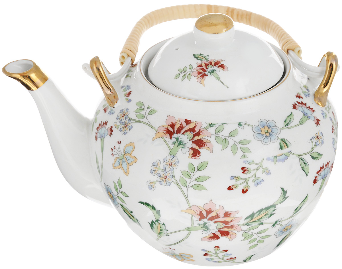 Чайник заварочный Loraine, с фильтром, 1 л. 2113021130Заварочный чайник Loraine изготовлен из высококачественного фарфора и дополнен металлическим фильтром. Он имеет изящную форму и декорирован нежным цветочным рисунком. Чайник сочетает в себе стильный дизайн с максимальной функциональностью. Красочность оформления придется по вкусу и ценителям классики, и тем, кто предпочитает утонченность и изысканность. Чайник упакован в подарочную коробку из плотного картона. Внутренняя часть коробки задрапирована атласом, и чайник надежно крепится в определенном положении благодаря особым выемкам в коробке. Высота чайника (без учета ручки и крышки): 12 см. Диаметр (по верхнему краю): 8,5 см. Высота чайника (с учетом ручки и крышки): 21 см.