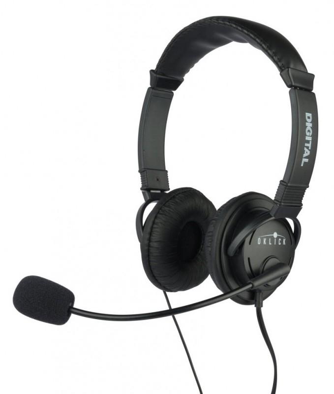 Наушники с микрофоном Oklick HS-M133V, Black - Офисные гарнитуры