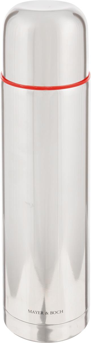 Термос Mayer & Boch, 750 мл21484Термос Mayer & Boch с двойными стенками из нержавеющей стали сохраняет температуру на длительный срок. Вакуумный закручивающийся клапан предохраняет от проливаний, а удобная кнопка-дозатор избавит от необходимости каждый раз откручивать крышку, что экономит вашу энергию и надолго сохраняет температуру. Крышку можно использовать как чашку. Стильный металлический корпус подойдет абсолютно всем и впишется в любой интерьер кухни. Термос Mayer & Boch идеально подходит для сохранения напитка горячим и холодным в течении 12 часов. Объем: 750 мл.Высота термоса: 29 см.
