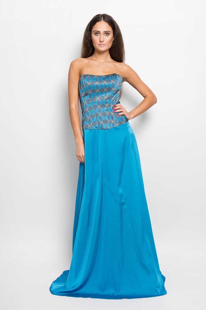 Платье Анна Чапман, цвет: голубой, синий. P38A-B11. Размер 48P38A-B11Великолепное платье Анна Чапман, выполненное из нежнейшей ткани, покорит вас с первого взгляда. Застегивается модель на застежку-молнию на спинке. Верх платья, выполненный в виде корсета и дополненный ребрами жесткости, идеально облегает фигуру. Платье имеет пришивную расклешенную юбку-макси. Модель оформлена красочным принтом с изображением лягушек. Такое платье станет стильным дополнением к вашему гардеробу.