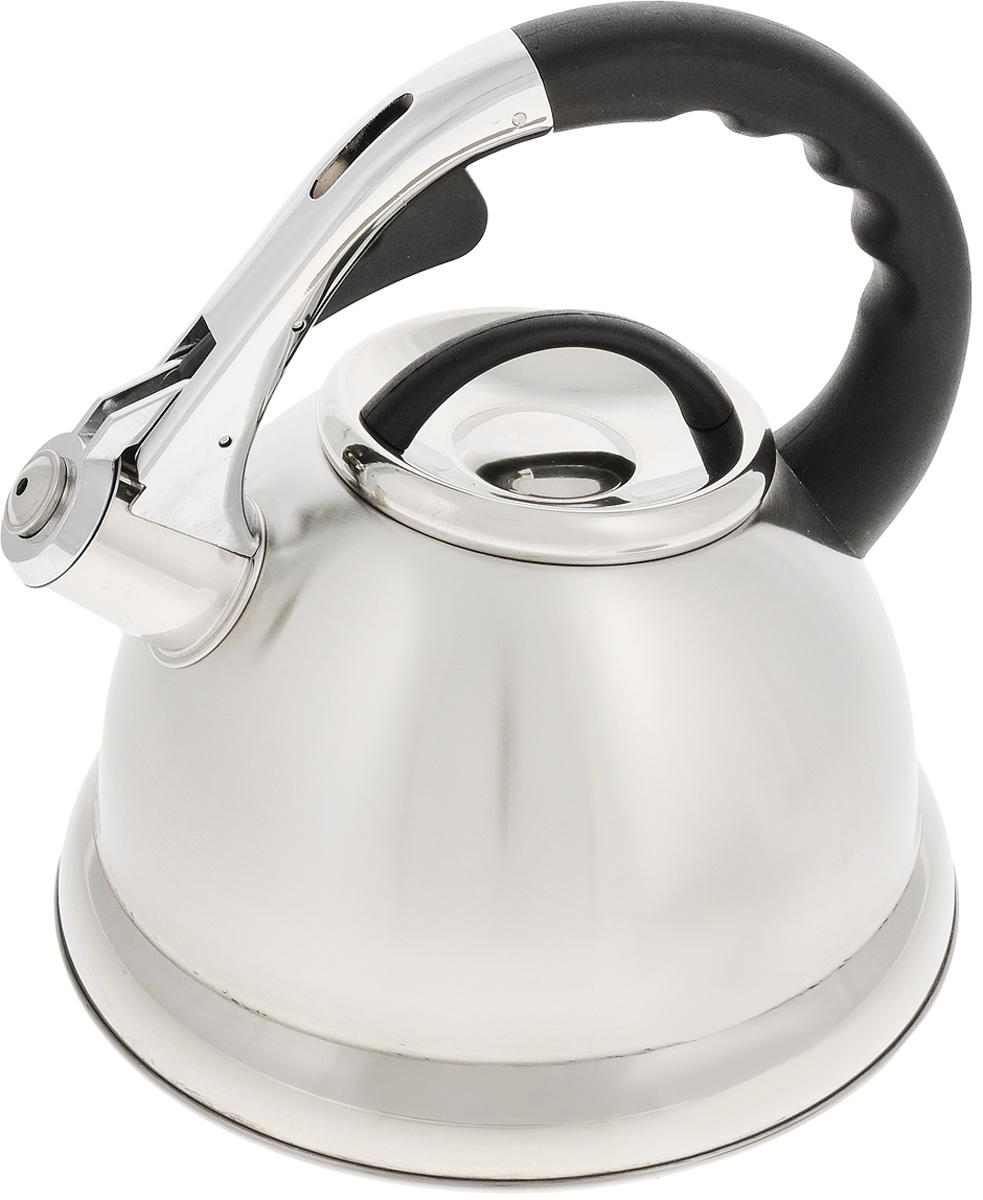 Чайник Mayer & Boch, со свистком, 2,7 л. 2020920209Чайник Mayer & Boch выполнен из высококачественной нержавеющей стали, которая не окисляется и не впитывает запахи, напитки всегда будут ароматны. Фиксированная ручка, изготовленная из пластика и цинка, снабжена клавишей для открывания носика, что делает использование чайника очень удобным и безопасным. Носик снабжен свистком, что позволит вам контролировать процесс подогрева или кипячения воды.Эстетичный и функциональный чайник будет оригинально смотреться в любом интерьере. Подходит для всех типов плит, кроме индукционных. Можно мыть в посудомоечной машине. Диаметр чайника (по верхнему краю): 10 см. Высота чайника (без учета крышки и ручки): 13 см. Высота чайника (с учетом ручки): 23 см.