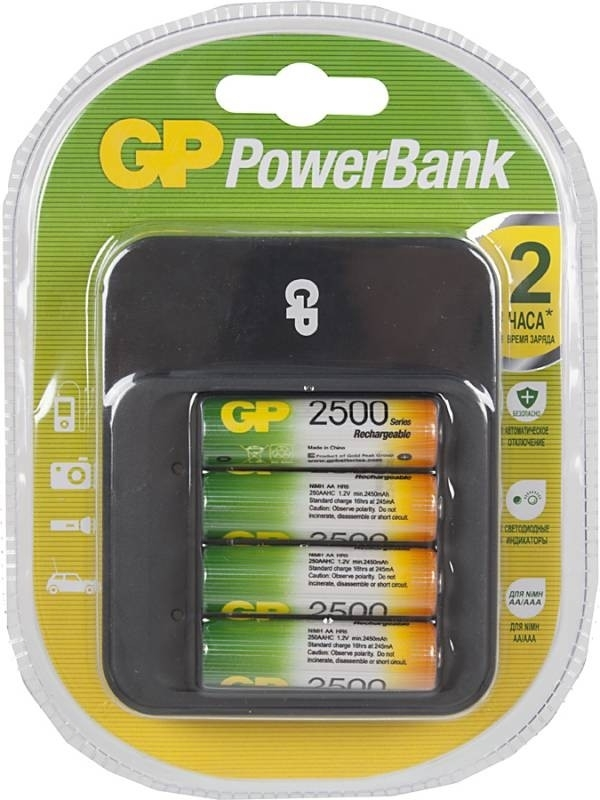 Аккумулятор + зарядное устройство GP PowerBank PB550GS250 AA NiMH 2450 мАч, 4 штGP PB550GS250-2CR4Зарядное устройство PB550GS250 - отличный выбор для тех, кто пользуется аккумуляторами. С его помощью можно быстро заряжать аккумуляторы формата АА и ААА. Устройство можно использовать как дома, так и в поездках, оно легкое, компактное, надежное и безопасное. Разработчики предусмотрели систему контроля исправности аккумуляторов, а также защиту от случайного использования батареек.