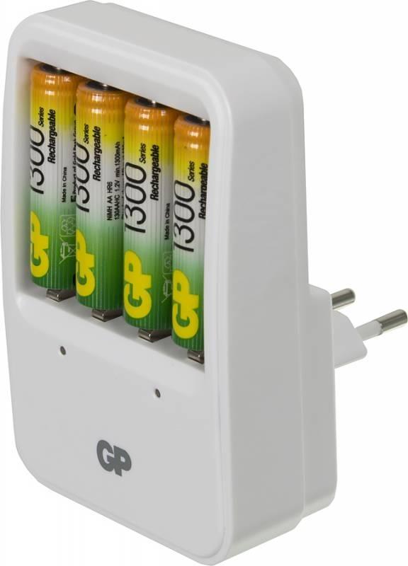 Аккумулятор + зарядное устройство GP PowerBank PB420GS130 AA NiMH 1300 мАч, 4 штGP PB420GS130-2CR4Зарядное устройство предназначенное для зарядки четырех никель-металлогидридных аккумуляторов стандартов AA/AAA, индикация заряда осуществляется с помощью светодиодов. В комплект входят 4 аккумуляторные батареи стандартов AA и емкостью 1300 мАч.