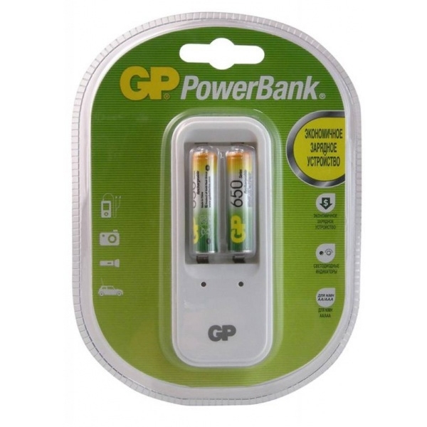 Аккумулятор + зарядное устройство GP PowerBank PB410GS65 AAA 650 мАч, 2 шт зарядное устройство и аккумулятор gp powerbank pb410gs65 650mah aaa 2шт