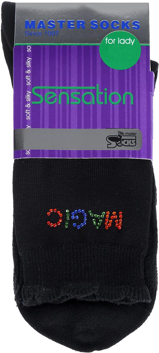 Носки женские Master Socks, цвет: черный. 85712. Размер 2585712Удобные носки Master Socks, изготовленные из высококачественного комбинированного материала, очень мягкие и приятные на ощупь, позволяют коже дышать.Эластичная резинка плотно облегает ногу, не сдавливая ее, обеспечивая комфорт и удобство. Носки дополнены полупрозрачным орнаментом и оформлены аппликацией из стразов в виде надписи. Манжета изделия дополнена рюшами.Практичные и комфортные носки великолепно подойдут к любой вашей обуви.