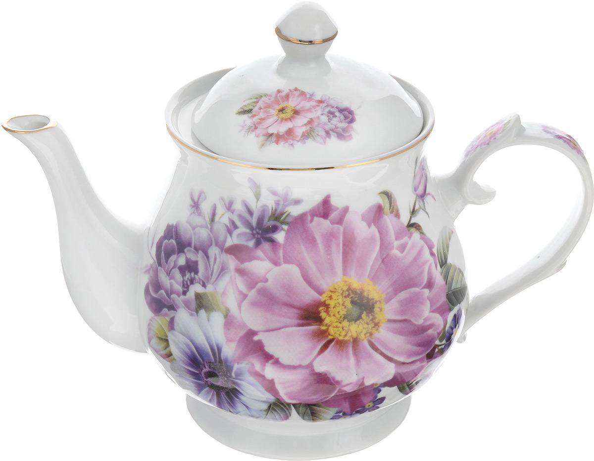 Чайник заварочный Loraine, 800 мл. 2457524575Заварочный чайник Loraine изготовлен из высококачественной керамики. Он имеет изящную форму и декорирован нежным цветочным рисунком. Чайник сочетает в себе стильный дизайн с максимальной функциональностью. Красочность оформления придется по вкусу и ценителям классики, и тем, кто предпочитает утонченность и изысканность. Чайник упакован в подарочную коробку из плотного картона. Внутренняя часть коробки задрапирована атласом, и чайник надежно крепится в определенном положении благодаря особым выемкам в коробке. Высота чайника (без учета крышки): 12 см. Высота чайника (с учетом крышки): 17 см. Диаметр (по верхнему краю): 9 см. Диаметр основания: 8,5 см.