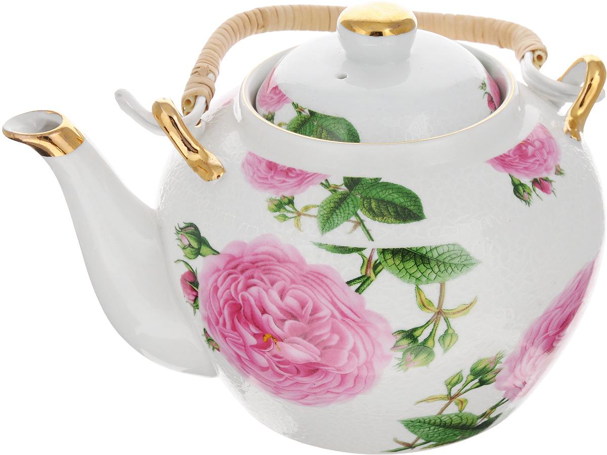 Чайник заварочный Loraine, с фильтром, 1 л. 2113521135Заварочный чайник Loraine изготовлен из высококачественной керамики и дополнен металлическим фильтром. Он имеет изящную форму и декорирован нежным цветочным рисунком.Чайник сочетает в себе стильный дизайн с максимальной функциональностью. Красочность оформления придется по вкусу и ценителям классики, и тем, кто предпочитает утонченность и изысканность. Чайник упакован в подарочную коробку из плотного картона. Внутренняя часть коробки задрапирована атласом, и чайник надежно крепится в определенном положении благодаря особым выемкам в коробке. Высота чайника (без учета ручки и крышки): 11 см. Высота чайника (с учетом ручки и крышки): 19 см. Диаметр (по верхнему краю): 8 см. Диаметр основания: 9,5 см. Высота фильтра: 5 см.