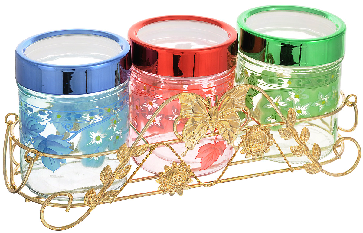 Набор банок для сыпучих продуктов Mayer & Boch, 4 предмета. 38103810Набор  Mayer & Boch состоит из трех банок для сыпучих продуктов, выполненных из прочного стекла и металлической подставки. Изделия имеют цилиндрическую форму и оснащены герметичными крышками из высококачественного пластика. Такие банки прекрасно подходят для хранения сахара, соли, круп, конфет, орехов, печенья и других сыпучих продуктов. Диаметр банки (по верхнему краю): 9 см.Высота банки (с учетом крышки): 12,5 см.Размер подставки: 32,5 х 12,5 х 10 см.Объем банки: 560 мл.
