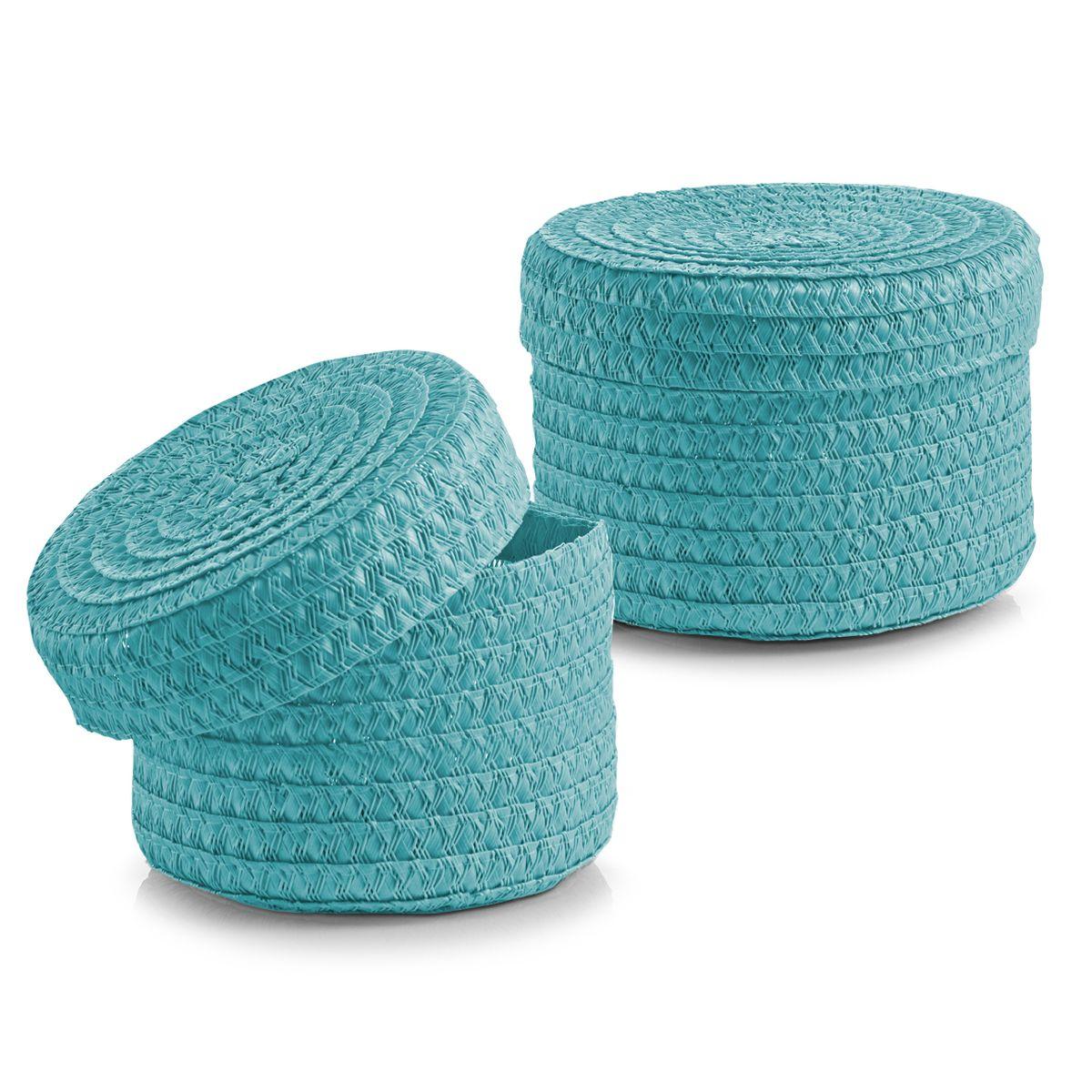 Набор корзин Zeller с крышками, цвет: бирюзовый, 2 шт14022Набор Zeller состоит из двух корзин разного размера. Корзинки изготовлены из текстиля и оснащены крышками. Изделия идеально подходят для упаковки подарков, цветочных композиций и подарочных наборов, для хранения различных вещей и аксессуаров. Так же они являются прекрасным декоративным элементом интерьера.Такие корзины будут создавать уют и комфорт в вашем доме и станут отличным подарком. Диаметр корзин: 16 см, 17 см. Высота корзин: 10 см, 12 см.