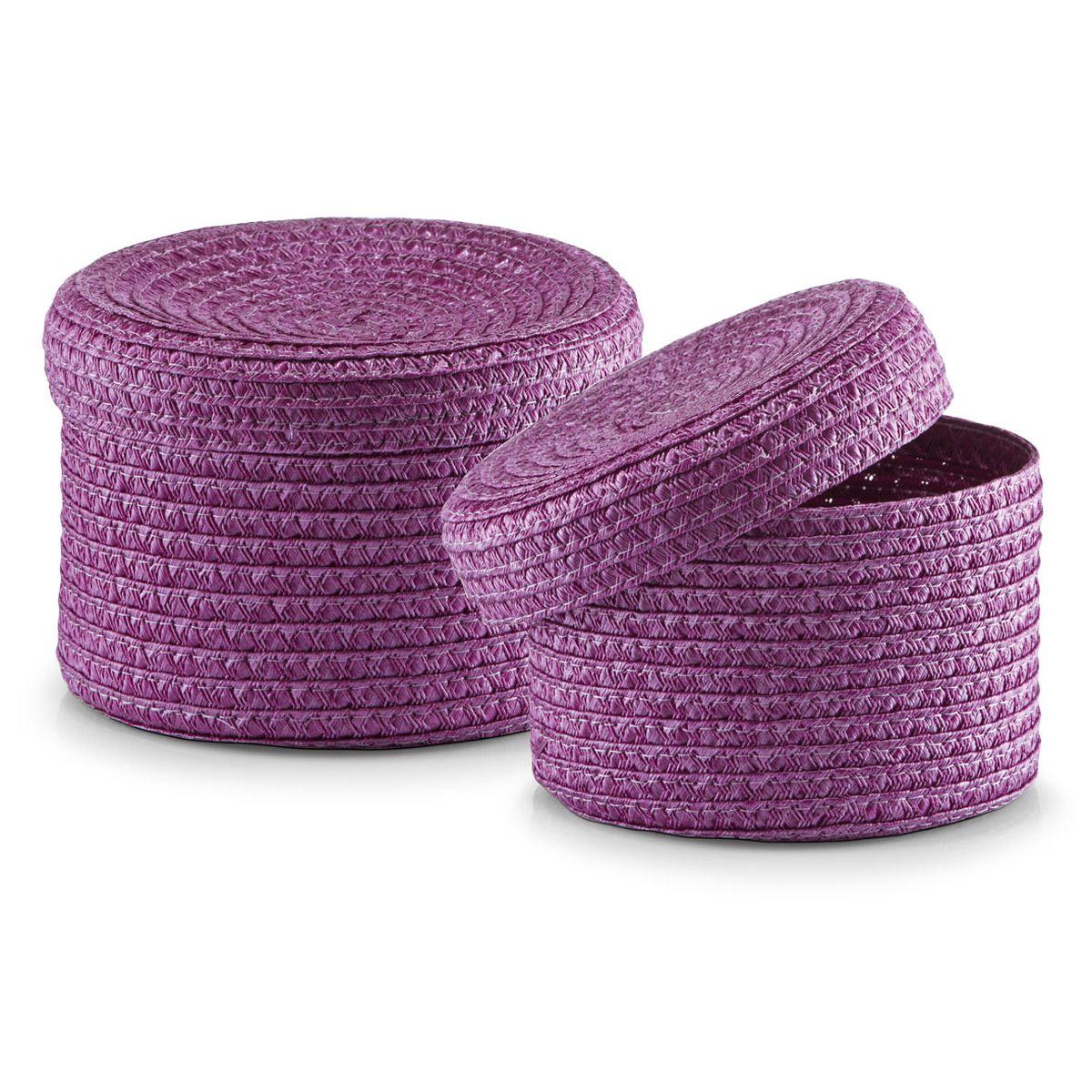Набор корзин Zeller с крышками, цвет: фиолетовый, 2 шт14121Набор Zeller состоит из двух корзин разного размера. Корзинки изготовлены из текстиля и оснащены крышками. Изделия идеально подходят для упаковки подарков, цветочных композиций и подарочных наборов, для хранения различных вещей и аксессуаров. Так же они являются прекрасным декоративным элементом интерьера.Такие корзины будут создавать уют и комфорт в вашем доме и станут отличным подарком. Диаметр корзин: 16 см, 17 см. Высота корзин: 10 см, 12 см.