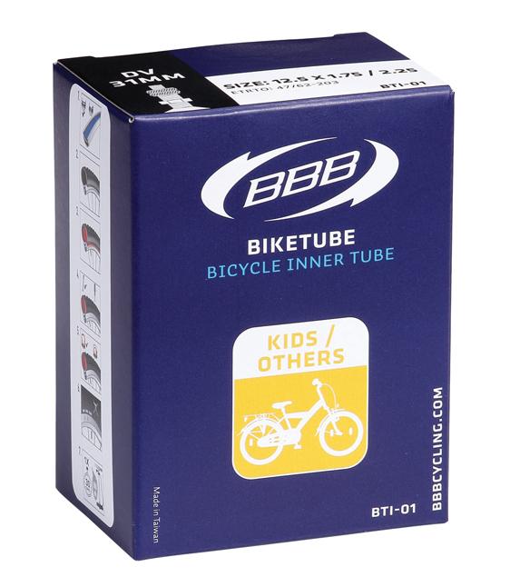 Камера велосипедная BBB, 1/2 x 1,75 x 2-1/4 AV, 12. BTI-01BTI-01Камера BBB изготовлена из долговечного резинового компаунда. Никаких швов, которые могут пропускать воздух. Достаточно большая длязащиты от проколов и достаточно небольшая для снижения веса.Велосипедные камеры - обязательный атрибут каждого велосипедиста! Никогда не выезжайте из дома на велосипеде, не взяв с собойзапасную велосипедную шину! Диаметр колеса: 12. Допустимый размер сечения покрышки: 1,75-2. Автомобильный ниппель (Shrader): 33 мм. Толщина стенки: 0,87 мм.