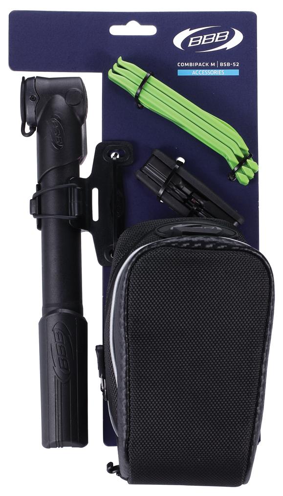 Велосумка BBB CombiPack M. BSB-52BSB-52Подседельная сумка BBB CombiPack M с системой крепления T-Buckle содержит следующие аксессуары: мультитул с шестью функциями, 3 монтажки EasyFit, мини-насос с креплением на раму.Инструменты мультитула: шестигранники 2 мм, 3 мм, 4 мм, 5 мм, плоская и крестовая отвертки.