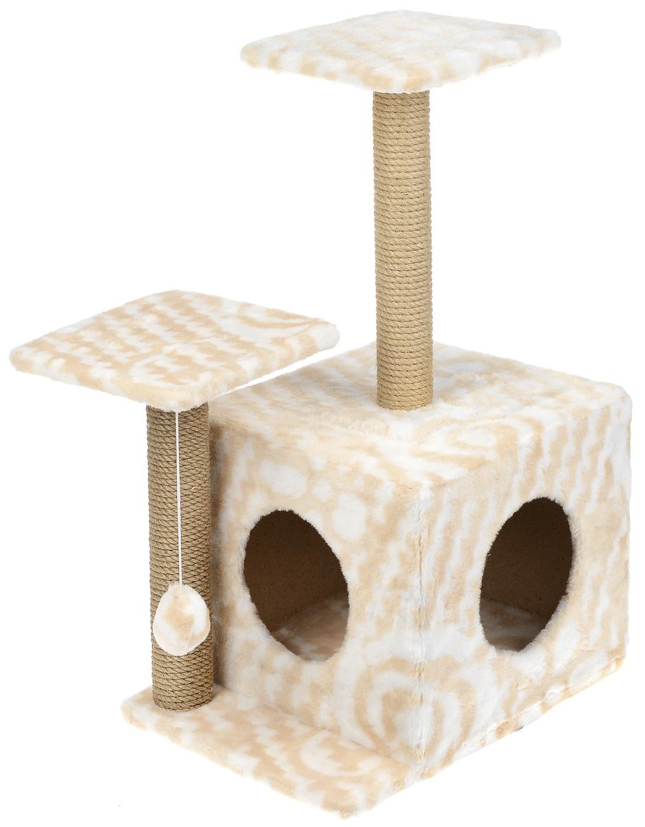 Игровой комплекс для кошек Меридиан, с домиком и когтеточкой, цвет: белый, бежевый, 45 х 47 х 75 см грелки warmies cozy plush игрушка грелка полярный мишка