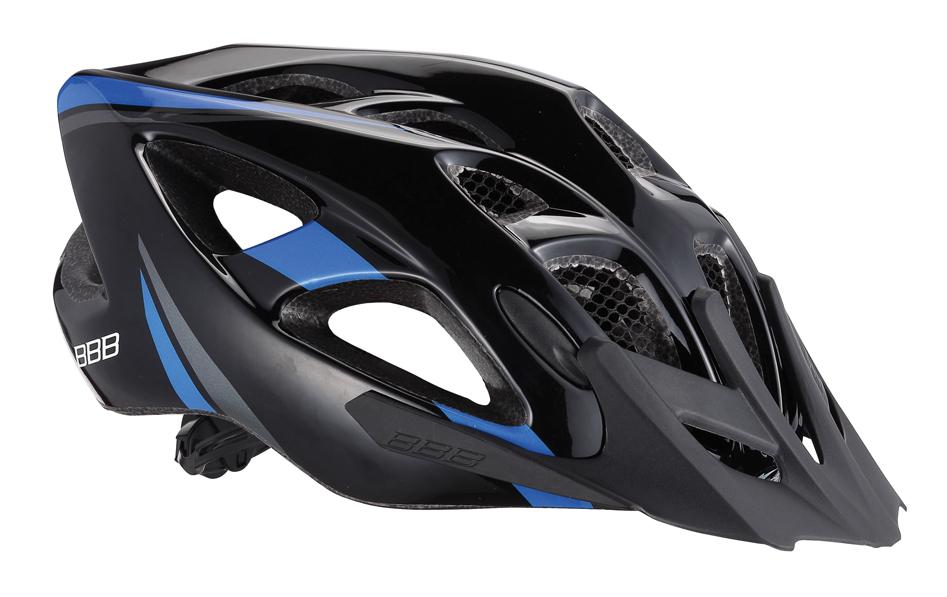Летний шлем BBB Elbrus, цвет: матовый черный, синий. BHE-34. Размер L (57-63 см)BHE-34Интегрированная конструкция. 18 вентиляционных отверстий. Отверстия для вентиляции в задней части шлема для оптимального распределения потоков воздуха. Защитная сетка от насекомых в вентиляционных отверстиях. Настраиваемые ремешки для максимально комфортной посадки. Простая в использовании система настройки TwistClose, можно настроить шлем одной рукой. Съемные мягкие накладки с антибактериальными свойствами и возможностью стирки. Светоотражающие наклейки на задней части шлема. Съемный козырек.Гид по велоаксессуарам. Статья OZON Гид