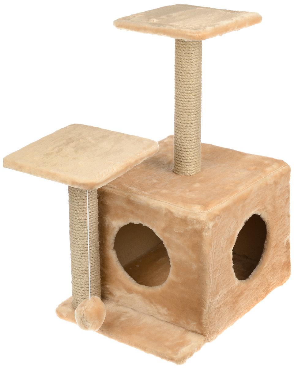 Игровой комплекс для кошек Меридиан, с домиком и когтеточкой, цвет: светло-коричневый, бежевый, 45 х 47 х 75 смД131 СКИгровой комплекс для кошек Меридиан выполнен из высококачественного ДВП и ДСП и обтянут искусственным мехом. Изделие предназначено для кошек. Ваш домашний питомец будет с удовольствием точить когти о специальный столбик, изготовленный из джута. А отдохнуть он сможет либо на полках разной высоты, либо в расположенном внизу домике. Также комплекс оснащен подвесной игрушкой, которая привлечет вашего питомца.Общий размер: 45 х 47 х 75 см.Размер домика: 45 х 36 х 32 см.Высота полок (от пола): 75 см, 45 см.Размер полок: 26 х 26 см.