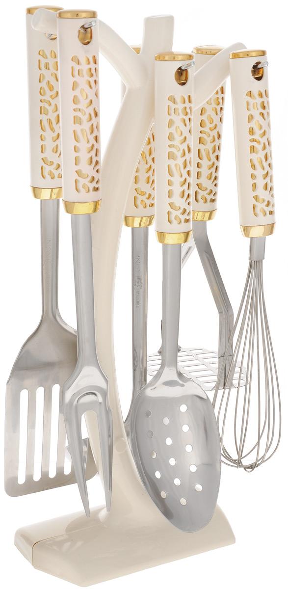 Набор кухонных принадлежностей Mayer & Boch, 7 предметов. 2201322013Набор кухонных принадлежностей Mayer & Boch состоит из вилки,шумовки, венчика, половника, лопатки, пресса для картофеля иподставки. Предметы набора выполнены из нержавеющей стали ипластика.Набор Mayer & Boch подчеркнет неповторимый дизайн вашей кухнии превратит приготовление еды в настоящее удовольствие.Размер подставки: 14,5 х 8 х 38 см. Длина половника: 32 см. Длина шумовки: 31,5 см. Длина пресса для картофеля: 23,5 см. Длина лопатки: 33,5 см. Длина вилки: 32,5 см. Длина венчика: 29,5 см.
