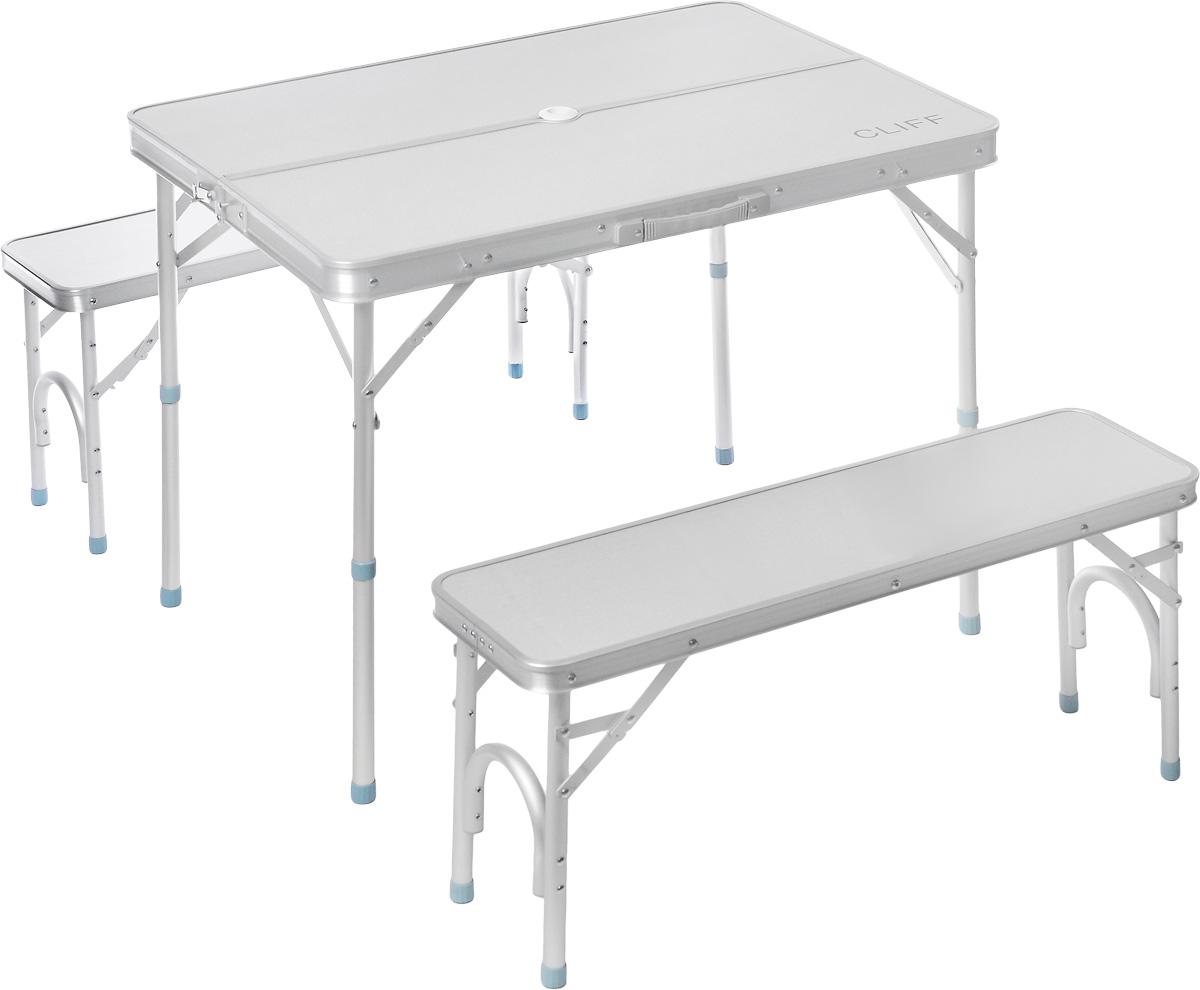 Набор складной мебели Wildman, 3 предмета81-572Набор складной мебели Wildman - это отличное решение для выезда на природу. Каркас мебели выполнен из прочного алюминия, столешница из МДФ. Скамейки складываются внутрь стола, что существенно экономит место при транспортировке. Набор включает в себя стол и 2 скамейки.Размер стола: 90 х 66 х 70 см.Размер скамеек: 87 х 25 х 39 см.Максимальная нагрузка на скамейки: 100 кг.