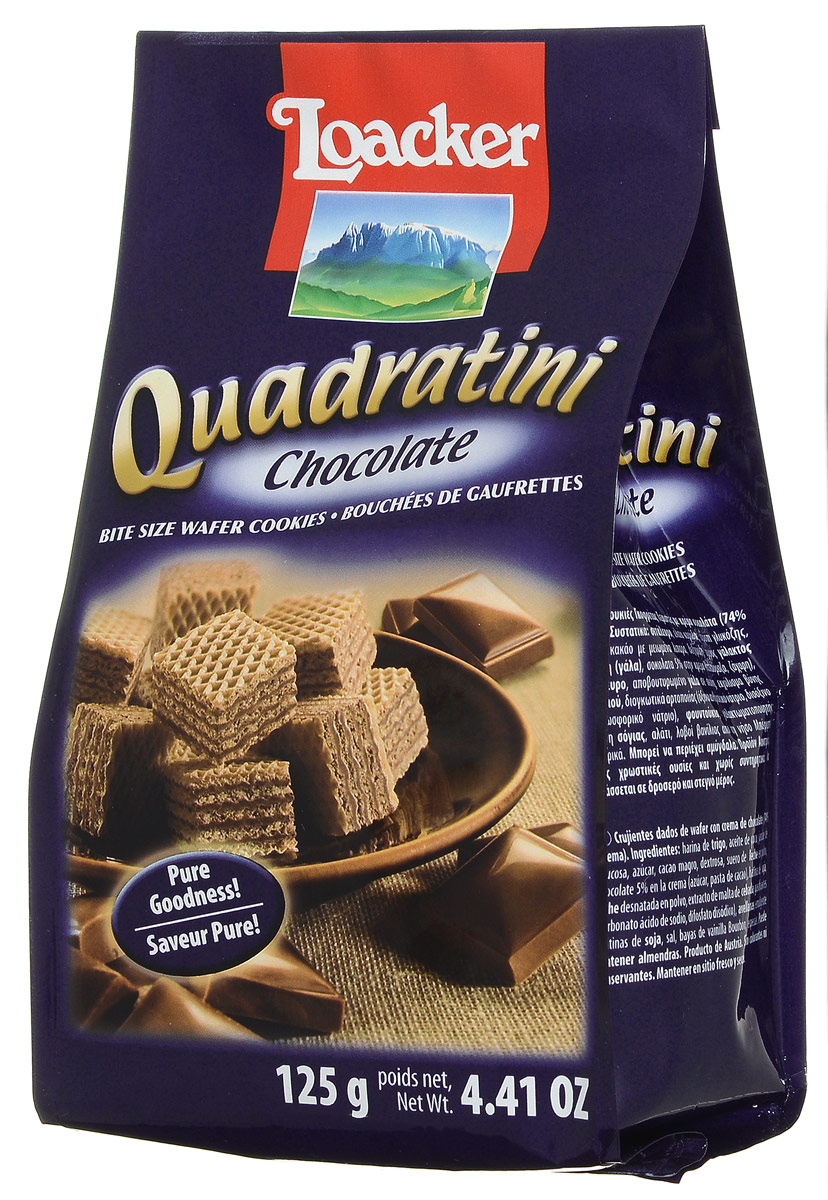 Loacker Квадратини Шоколад вафли, 125 г вафли обожайка вкус шоколад 225 г