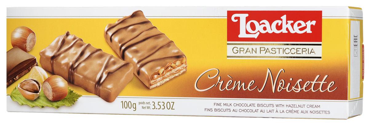 Loacker Гран Пастицерия печенье с лесным орехом, 100 г10392-005Loacker Гран Пастицерия - ароматное печенье с лесным орехом. Нежность молочного шоколада подчеркивают кусочки хрустящих обжаренных лесных орехов, в то время как свежие вафли раскрывают сладость легкого орехового крема.