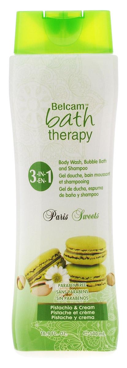 Bath Therapy Парижские сладости3 в 1: Шампунь, гель для душа, пенадля ванны Фисташковый крем, 500 мл гели bath therapy гель для душа шампунь для детей взрывной апельсин 2 в 1 new