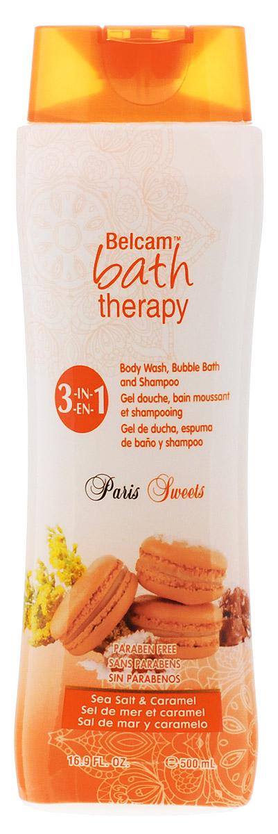 Bath Therapy Парижские сладости3 в 1: Шампунь, гель для душа, пена для ванныМорская соль&Карамель, 500 мл гели bath therapy гель для душа шампунь для детей взрывной апельсин 2 в 1 new