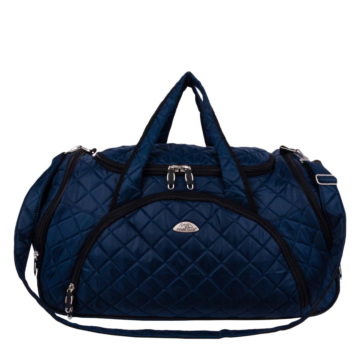 Сумка дорожная Polar, цвет: синий, 35 л. 70697069Вместительная и удобная дорожная сумка Polar выполнена из полиэстера. Основное отделение закрывается на молнию. Один из боковых карманов предназначен для обуви, мокрых вещей. Дополнительно снаружи расположен большой карман на молнии спереди сумки и небольшие карманы по бокам. Сумка имеет мягкую конструкцию. В комплекте регулируемый съемный плечевой ремень.