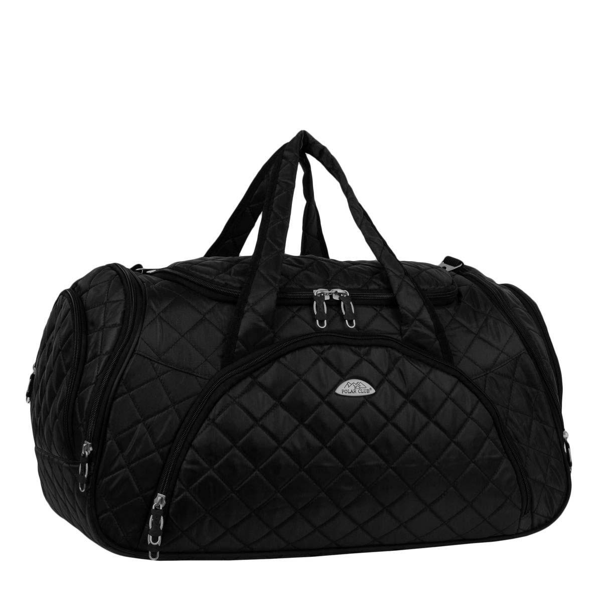 Сумка дорожная Polar, цвет: черный, 35 л. 70697069Вместительная и удобная дорожная сумка Polar выполнена из полиэстера. Основное отделение закрывается на молнию. Один из боковых карманов предназначен для обуви, мокрых вещей. Дополнительно снаружи расположен большой карман на молнии спереди сумки и небольшие карманы по бокам. Сумка имеет мягкую конструкцию. В комплекте регулируемый съемный плечевой ремень.