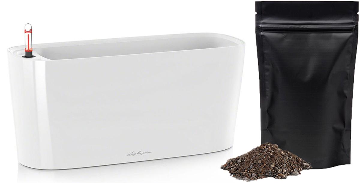 Кашпо с автополивом Lechuza Delta 20 40x15x18 см, белое + ПОДАРОК: Универсальный цветочный грунт In-Terra, объем 2 л15560_подарокLECHUZA DELTA объединяет технологии и дизайн: спрятанная в кашпо плавной, органичной формы, система автополива LECHUZA, надежно обеспечивает Ваши растения водой.Особые преимущества:- Сменный внутренний горшок с системой автополива- Высокое, узкое кашпо в виде колонны- Устойчиво и стабильно