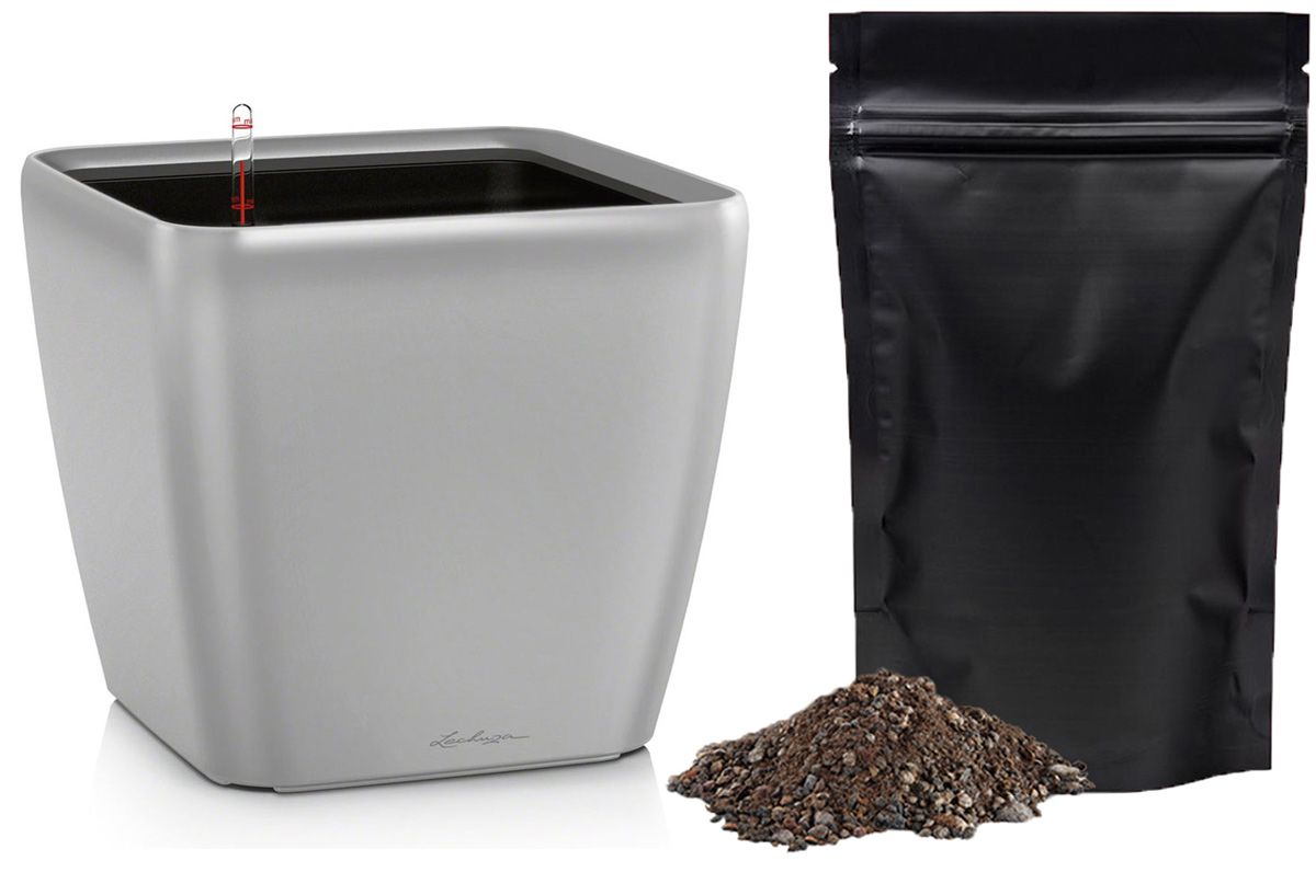 Кашпо с автополивом Lechuza Quadro 21х20 см, серебро LS + ПОДАРОК: Универсальный цветочный грунт In-Terra, объем 4 л16128_подарокЭлегантная ручка цвета самого кашпо украшает все наборы Все-в-одном кашпо серии QUADRO. Она не только красиво смотрится, но и обеспечивает возможность легкой замены растений.Особые преимущества:- Запатентованный внутренний горшок- Ручка цвета горшка не только практична, но еще и дополнительно подчеркивает изящный дизайн кашпо