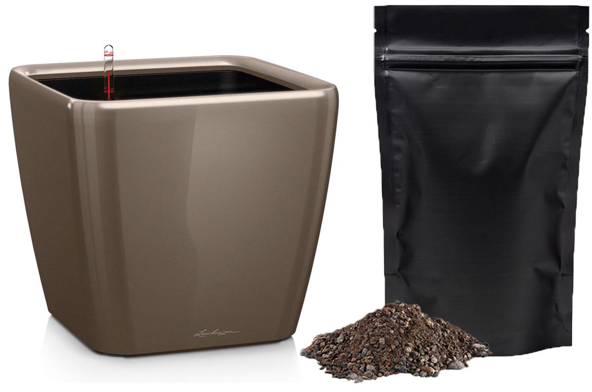 Кашпо с автополивом Lechuza Quadro 28х26 см, серо-коричневое LS + ПОДАРОК: Универсальный цветочный грунт In-Terra, объем 4 л16145_подарокЭлегантная ручка цвета самого кашпо украшает все наборы Все-в-одном кашпо серии QUADRO. Она не только красиво смотрится, но и обеспечивает возможность легкой замены растений.Особые преимущества:- Запатентованный внутренний горшок- Ручка цвета горшка не только практична, но еще и дополнительно подчеркивает изящный дизайн кашпо