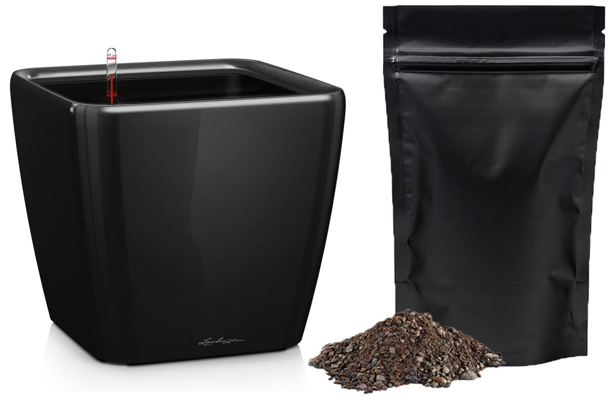 Кашпо с автополивом Lechuza Quadro 21х20 см, черное LS + ПОДАРОК: Универсальный цветочный грунт In-Terra, объем 4 л16129_подарокЭлегантная ручка цвета самого кашпо украшает все наборы Все-в-одном кашпо серии QUADRO. Она не только красиво смотрится, но и обеспечивает возможность легкой замены растений.Особые преимущества:- Запатентованный внутренний горшок- Ручка цвета горшка не только практична, но еще и дополнительно подчеркивает изящный дизайн кашпо