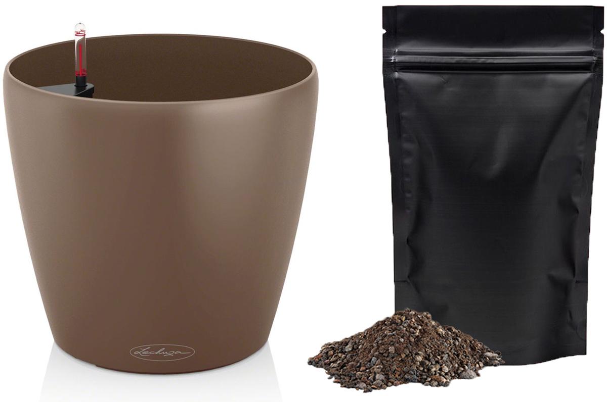 Кашпо с автополивом Lechuza Color Classico 21х20 см, мускатный орех + ПОДАРОК: Универсальный цветочный грунт In-Terra, объем 4 л13183_подарокТеплый мускатный цвет прекрасно комбинируется в виде контраста с черным или белым. Гранатовый цвет отлично расставляет акценты в скромной обстановке. Цвет, который можно применять в разных ситуациях – серый, отлично комбинируется как с яркими, так и со скромными цветами.В набор Все-В-Одном входят: система автополива LECHUZA с субстратом LECHUZA-PON в качестве дренажа.