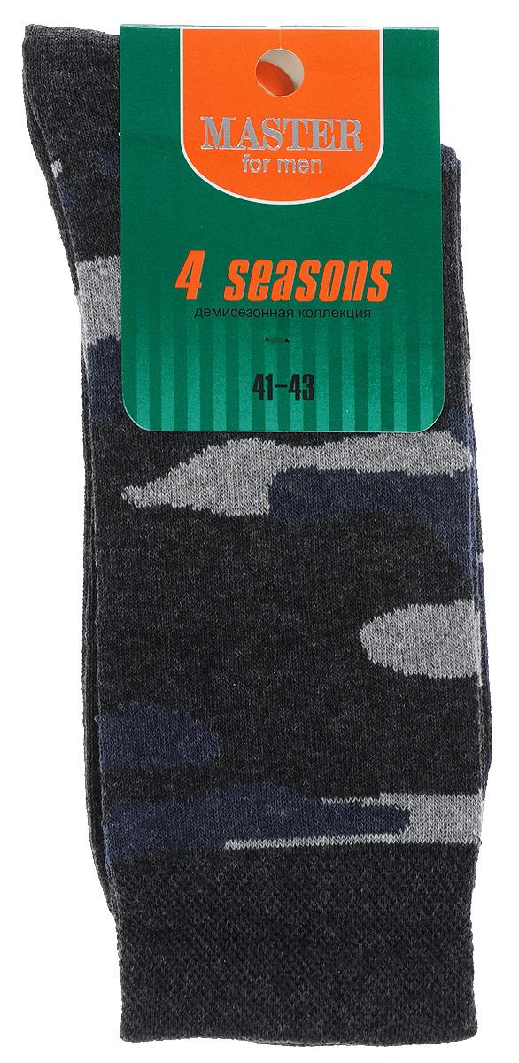 Носки мужские Master Socks, цвет: серый, синий. 58030. Размер 2758030Удобные носки Master Socks, изготовленные из высококачественного комбинированного материала, очень мягкие и приятные на ощупь, позволяют коже дышать.Широкая эластичная резинка плотно облегает ногу, не сдавливая ее, обеспечивая комфорт и удобство. Модель оформлена принтом камуфляж.Удобные и комфортные носки великолепно подойдут к любой вашей обуви.